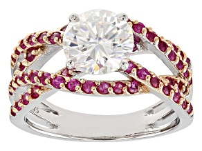 Pre-Owned Moissanite And Pink Sapphire Platineve Ring.