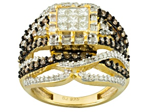 Pre-Owned White Diamond 14k Yellow Gold Over Silver Ring 1.45ctw
