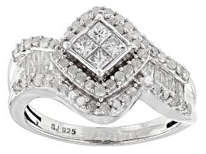 Rhodium Over Sterling Ilver Diamond Ring 1.10ctw