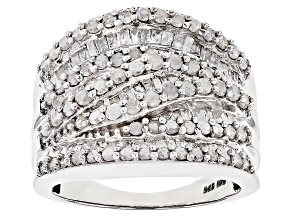 Pre-Owned White Diamond Rhodium Over Sterling Silver Ring 1.95ctw