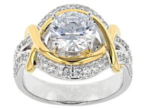 White Cubic Zirconia Rhodium Over Silver & 18k Yellow Gold Over Silver Ring 3.77ctw