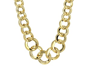 14k Yellow Gold Hollow Curb Link Necklace 20 inch