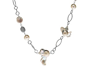 Pre-Owned 5-14mm White Cultured Fw Pearl & .92ctw Cubic Zirconia Rhodium Over Silver Necklace