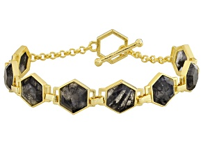 Pre-Owned Gray Rutilated Quartz 18k Yellow Gold Over Bronze Bracelet 25.52ctw