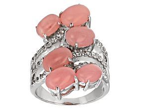 Pink Peruvian Opal Sterling Silver Bypass Ring .72ctw