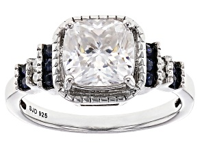 Moissanite Fire® 2.04ctw DEW And .20ctw Blue Sapphire Platineve™ Ring