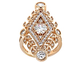 Pre-Owned Cubic Zirconia 18k Rose Gold Over Silver Ring 4.37ctw (2.71ctw DEW)