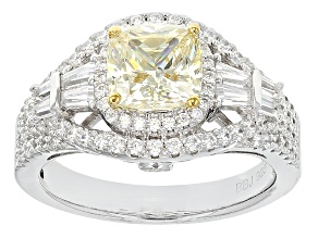 Pre-Owned Yellow And White Cubic Zirconia Silver Ring 3.04ctw (2.14ctw DEW)