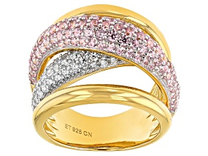 Pre-Owned Pink And White Cubic Zirconia 18k Yellow Gold Over Silver Ring 3.25ctw (1.69ctw DEW)