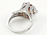 Pre-Owned Brown And White Cubic Zirconia Rhodium Over Silver Ring 11.64ctw
