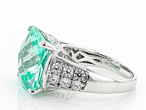 Green Synthetic Spinel And White Cubic Zirconia Rhodium Over Sterling Silver Ring 13.10ctw