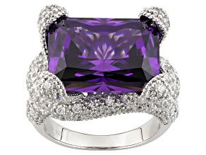 Purple And White Cubic Zirconia Silver Ring 24.45