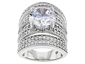 Pre-Owned Cubic Zirconia Silver Ring 14.79ctw (8.34ctw DEW)