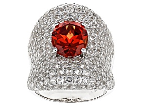 Orange Lab Created Padparadscha Sapphire And White Topaz Sterling Silver Ring 9.69ctw
