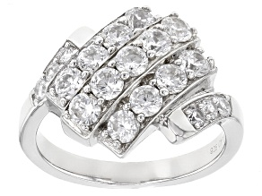 Pre-Owned White Cubic Zirconia Rhodium Over Sterling Silver Ring 2.89ctw