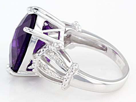 Pre-Owned Purple African Amethyst Sterling Silver Ring 10.26ctw
