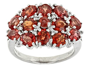 Red Winza Sapphire Sterling Silver Ring 3.27ctw