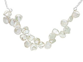 White Cultured Keshi Freshwater Pearl Sterling Silver Station Necklace