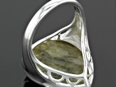 Pre-Owned Green Connemara Marble Silver Ring