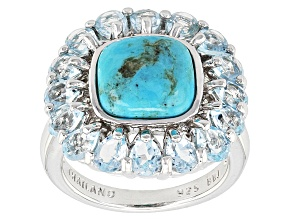 Pre-Owned Blue Turquoise Sterling Silver Ring. 3.09ctw