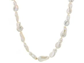 White Cultured Freshwater Pearl Silver Adjustable Strand Necklace 18