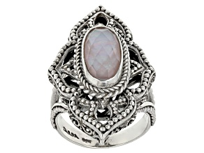 Pre-Owned Pink Peruvian Opal Triplet Silver Ring