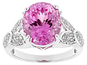 Pre-Owned Pink Lab Created Sapphire Silver Ring 6.37ctw