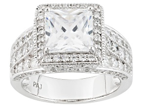 Pre-Owned White Cubic Zirconia Rhodium Over Silver Ring 5.73ctw
