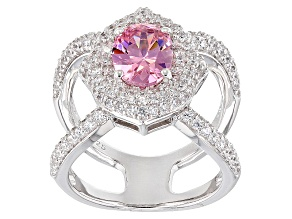 Pre-Owned Pink And White Cubic Zirconia Rhodium Over Sterling Silver Ring 5.51ctw