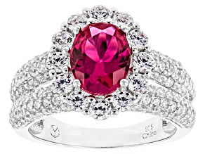 Pre-Owned Red Synthetic Corundum And White Cubic Zirconia Rhodium Over Sterling Silver Ring 5.03ctw