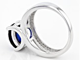 Pre-Owned Blue Lab Created Sapphire Sterling Silver Ring. 4.68ctw.