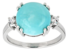 Blue  Sleeping Beauty Turquoise Sterling Silver Ring .13ctw