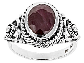 Pre-Owned Red indian Ruby Silver Ring 3.60ctw