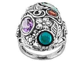 Multicolor Man Made Roman Glass Sterling Silver Ring .13ctw