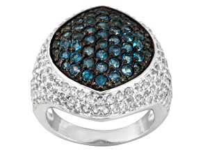 London Blue Topaz And White Topaz Sterling Silver Ring 3.52ctw.