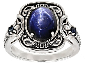 Pre-Owned Blue Star Sapphire Sterling Silver Ring 4.38ctw