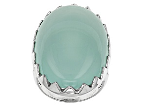 Pre-Owned Blue Aqua Color Chalcedony Sterling Silver Solitaire Ring