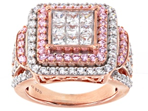 Pre-Owned White And Pink Cubic Zirconia 18k Rose Gold Over Silver Ring 4.75ctw (2.37ctw DEW)