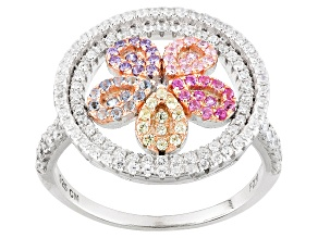 Pre-Owned White/Blue/Green/Red/Pink/Purple Cubic Zirconia Rhodium Over Silver Ring 1.57ctw