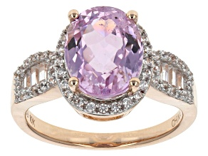 Pre-Owned Pink Kunzite And White Zircon 10k Rose Gold Ring 3.39ctw