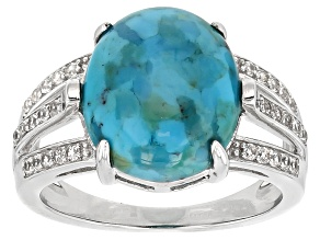 Pre-Owned Blue Turquoise Sterling Silver Ring .23ctw