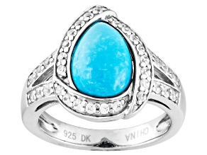 Pre-Owned Blue Turquoise And White Zircon Sterling Silver Ring .33ctw