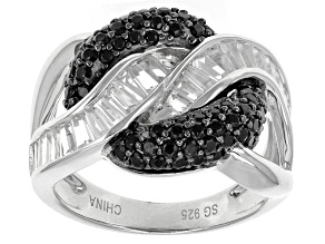 Pre-Owned Black Spinel Sterling Silver Ring 2.26ctw