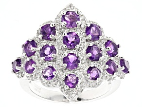 Pre-Owned Purple African Amethyst And White Zircon Sterling Silver Ring 2.97ctw