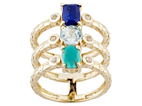 Pre-Owned Blue Lapis, Blue Topaz And White Topaz 18k Yellow Gold Over Sterling Silver Ring 1.06ctw