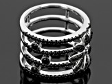 Pre-Owned Black Spinel Sterling Silver 4 Band Ring 1.11ctw