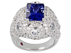 Pre-Owned Lab Created Sapphire, Lab Created Spinel And Cubic Zirconia Platineve Ring 7.38ctw