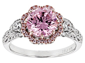 Pre-Owned Pink And White Cubic Zirconia Rhodium Over Sterling Silver Ring 4.07ctw