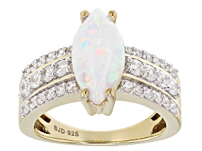 Lab Created Opal And White Cubic Zirconia 18k Yellow Gold Over Sterling Silve Ring 3.13ctw