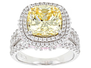White Yellow And Pink Cubic Zirconia Rhodium Over Sterling Silver Ring 17.09ctw